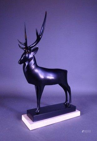 Sculpture: Bronze patine noire -Grand  cerf- n° 22/48 tirage posthume d'après [...]