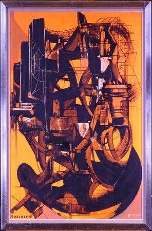 Tableau HSP -Composition- signé *DELMOTTE M.* (Marcel) (1901-1984) 65x47cm cadre [...]