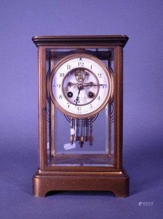 Horlogerie: Pendule laiton verre signé GROTTENDIECK Ch. Bxl (mq ress) mvt rond de [...]
