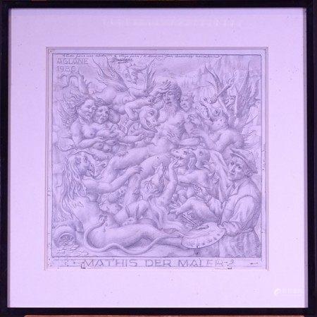 Tableau Dessin crayon/papier -Etude pour médaille Paul Hindemith- 1963 40x40 et [...]