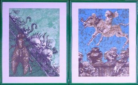 Estampe litho couleur (6) (détourées) -Lebenstein et les siens- 1972 *LEBENSTEIN [...]