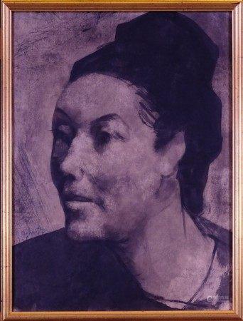 Tableau dessin encre de chine gratté/papier -Epouse de l'artiste- 1969 *DELMOTTE M.* [...]