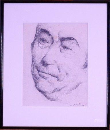 Tableau: fusain sur papier -Portrait- daté 1968 signé *DELMOTTE M.* (Marcel) [...]
