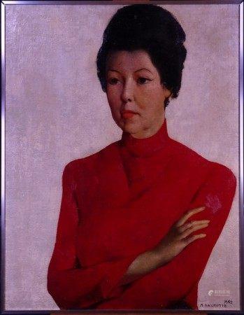 Tableau HST -Portrait de Mady en rouge- 1965 signé *DELMOTTE M.* (Marcel) [...]