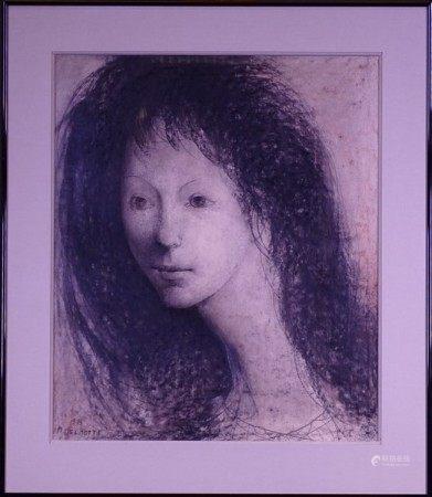 Tableau: Dessin encre fusain sur papier -Portrait de femme- 1979 signé *DELMOTTE M.* [...]