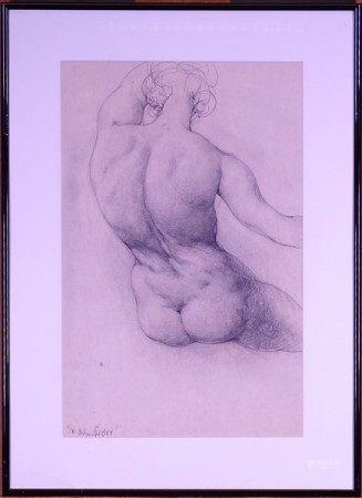 Tableau: fusain sur carton -Nu assis- daté 1984 signé *DELMOTTE M.* (Marcel) [...]
