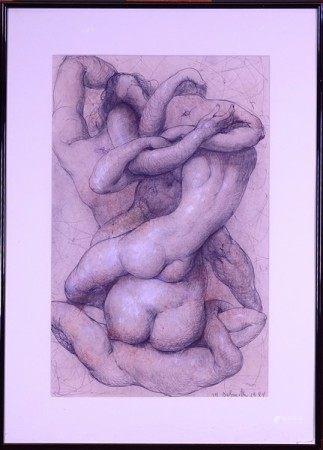 Tableau: Dessin encre fusain sur papier -Embrasements- 1984 signé *DELMOTTE M.* [...]