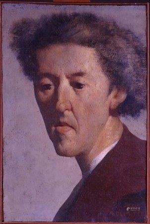 Tableau HS Tapis -Auto portrait- daté 1953 signé *DELMOTTE M.* (Marcel) (1901, [...]