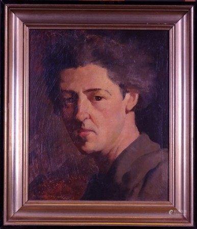 Tableau HSP -Auto-portrait- daté 1946 signé *DELMOTTE M.* (Marcel) (1901, 1984) [...]