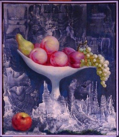 Tableau HSP -Nature morte Coupe de fruits- signé *DELMOTTE M.* (Marcel) (1901-1984) [...]