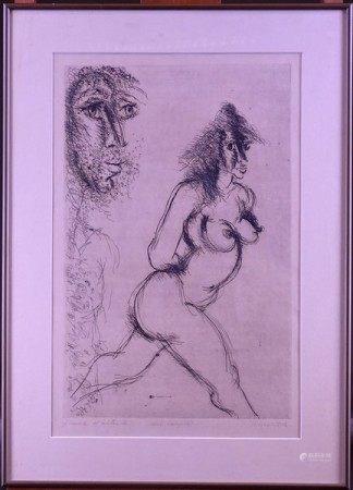Estampe: Eau-forte -Un couple- E.A. signée *SOMVILLE R.* (Roger) (1923, 2014) [...]