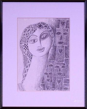 Tableau: Dessin au crayon -Tête de femme- daté 1979 signé *SIMON A.* (Armand) [...]