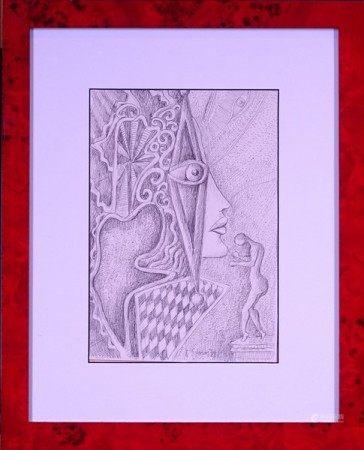 Tableau: Dessin au crayon -sans titre- daté 1979 signé *SIMON A.* (Armand) [...]
