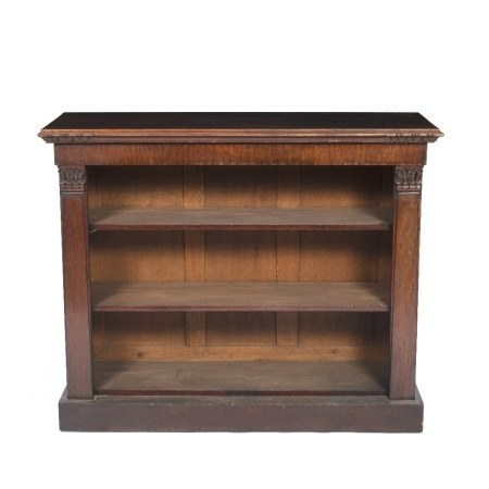 Mahogany open bookcase 19th Century, with two adjustable shelves and carved supports 123cm wide x