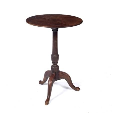Oak wine table circa 1820, on three feet 46cm wide x 65cm high