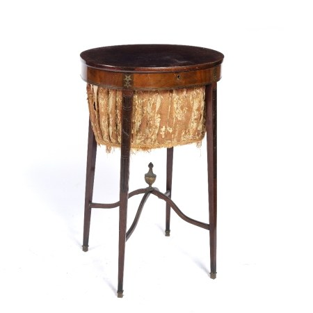 Mahogany work table with brass inlaid sides running down the legs, X-shaped stretcher with a brass