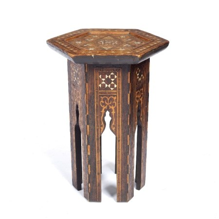 Syrian octagonal table the top decorated with a central roundel in mother of pearl, the sides