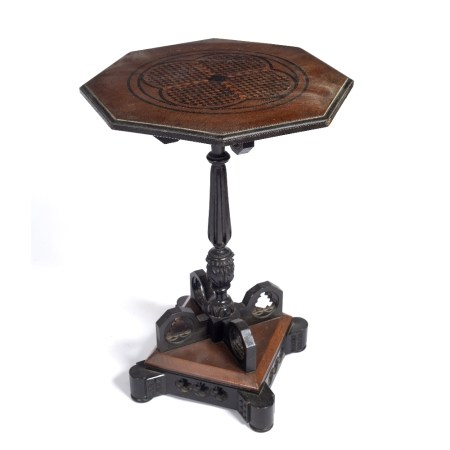 Pugin style Gothic oak side table inlaid to the top with parquetry work with four interconnected