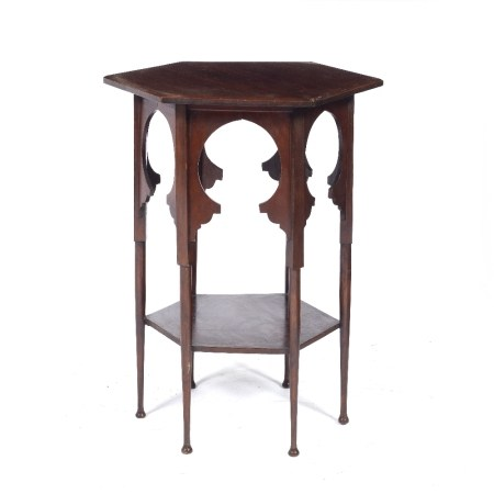 Octagonal mahogany liberty table in the Syrian style, with shaped aprons 43cm across x 63.5cm high
