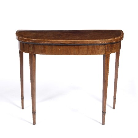 Mahogany and satinwood fold over card table George III, cross banded to the top in rosewood, with