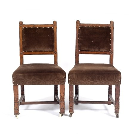 Pair of Gothic hall chairs Victorian, with upholstered square backs, carved sides and legs 92cm high