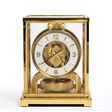 Jaeger Le Coultre Atmos timepiece or clock in brass case, the movement numbered '434648', dial