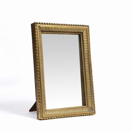 19th Century French ormolu mirror with easel back, stamped 'Picart, Rue Du Bac 14' and indistinct