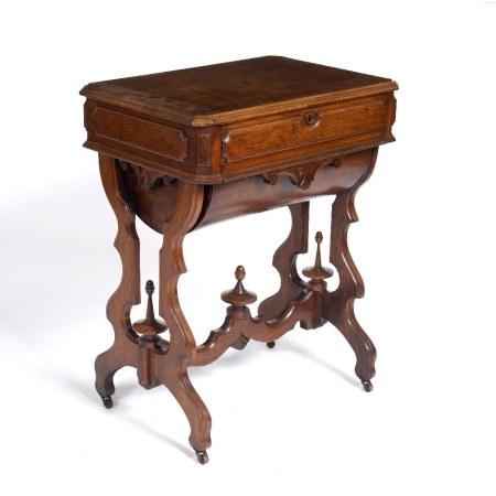 Walnut continental work table 19th Century, 61cm across x 42cm deep x 77cm high