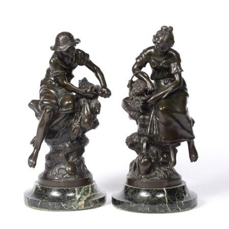 After Hippolyte Francois Moreau (1832-1932) Pair of bronze figures, Bottleur & Fontaine Fleurie,