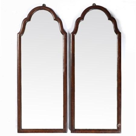 Pair of mahogany framed mirrors 25cm across x 63cm high