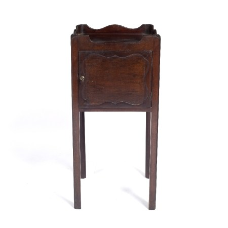 Mahogany pot cupboard 19th Century, with a shaped tray top and cut carrying handles 34cm across x
