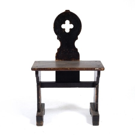 Stained gothic pine single pew with pierced top to the back 50cm across x 80cm high