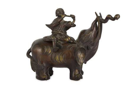 A JAPANESE BRONZE 'ELEPHANT AND RIDER' CENSER.