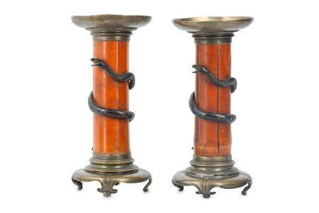 A PAIR OF JAPANESE CANDLE HOLDERS.