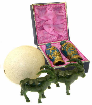 Ostrich egg pair of boxed Asian vases and a pair of green hardstone/ jadite Ibeck We are unable to