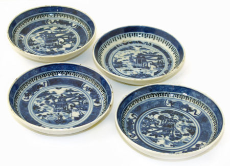 Four Chinese 18/19th century underglaze blue painted dishes, each with four characters Qianlong mark
