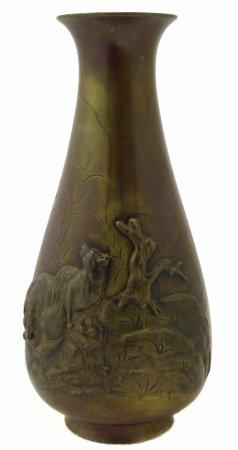 Japanese bronze vase, signed base, Meiji Period.