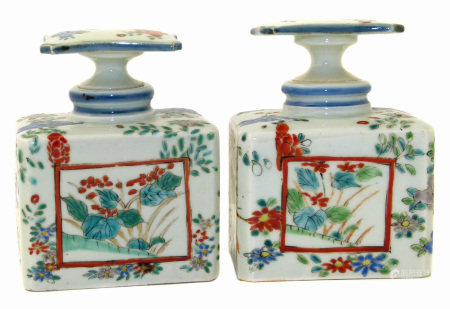 Pair of Japanese bottles / tea caddies and stoppers. Meiji Period.