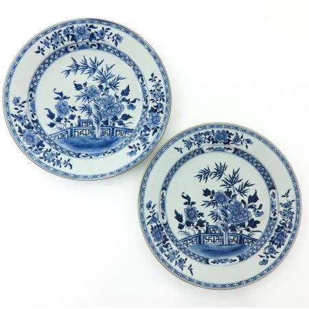 A Pair of Chinese Blue and White Chargers