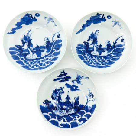 A Series of Three Chinese Blue and White Plates