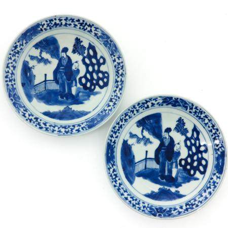 A Pair of Blue and White Serving Plates