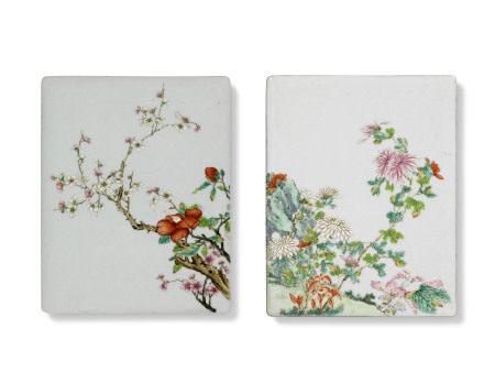 REPUBLIC PERIOD (1912-1949) 民国 粉彩花卉纹瓷板一对