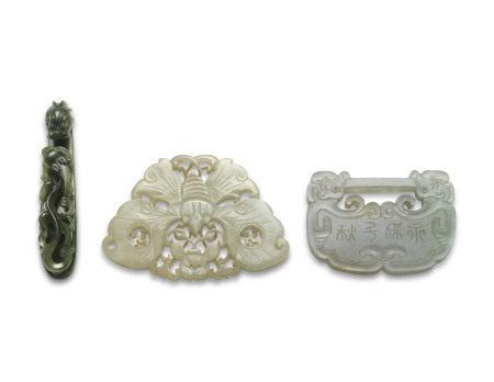 19TH-20TH CENTURY  十九/二十世纪 碧玉及白玉雕两件