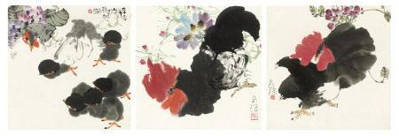 大鸡与小鸡(三幅) 谭昌镕(1933年生)