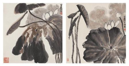 白荷(两幅) 方召麐(1914-2006)