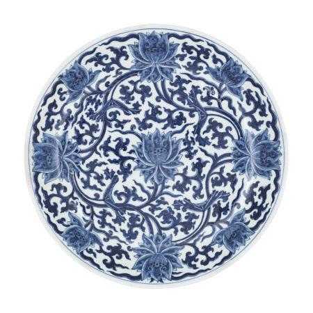 GUANGXU PERIOD (1875-1908) 清光绪 青花缠枝莲纹大盘 《储秀宫制》篆书款