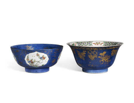 KANGXI PERIOD (1662-1722) 清康熙 彩绘洒蓝釉描金碗两件