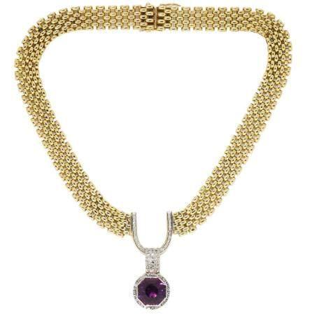 Gargantilla de oro bicolor, diamantes y amatista.