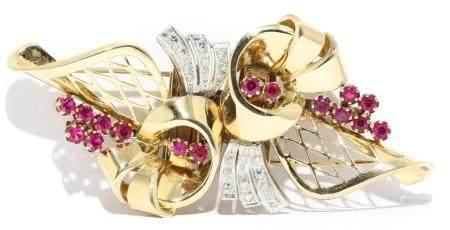 Broche clip en oro amarillo de 18k con diamantes y rubíes