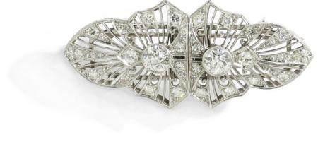 Broche placa de platino con diamantes